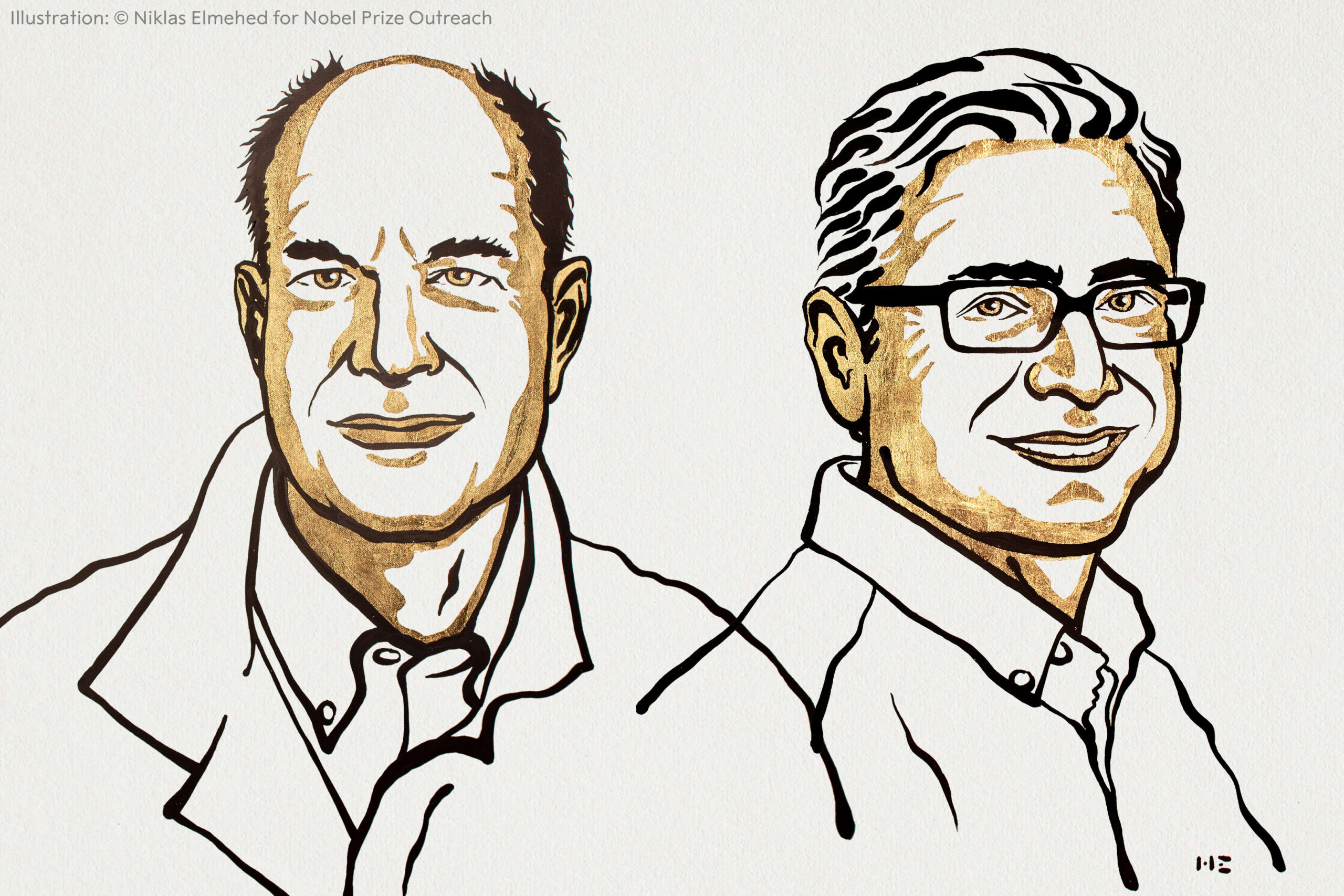 Line drawing illustration of the two Nobel prize winners, Julius and Patapoutian