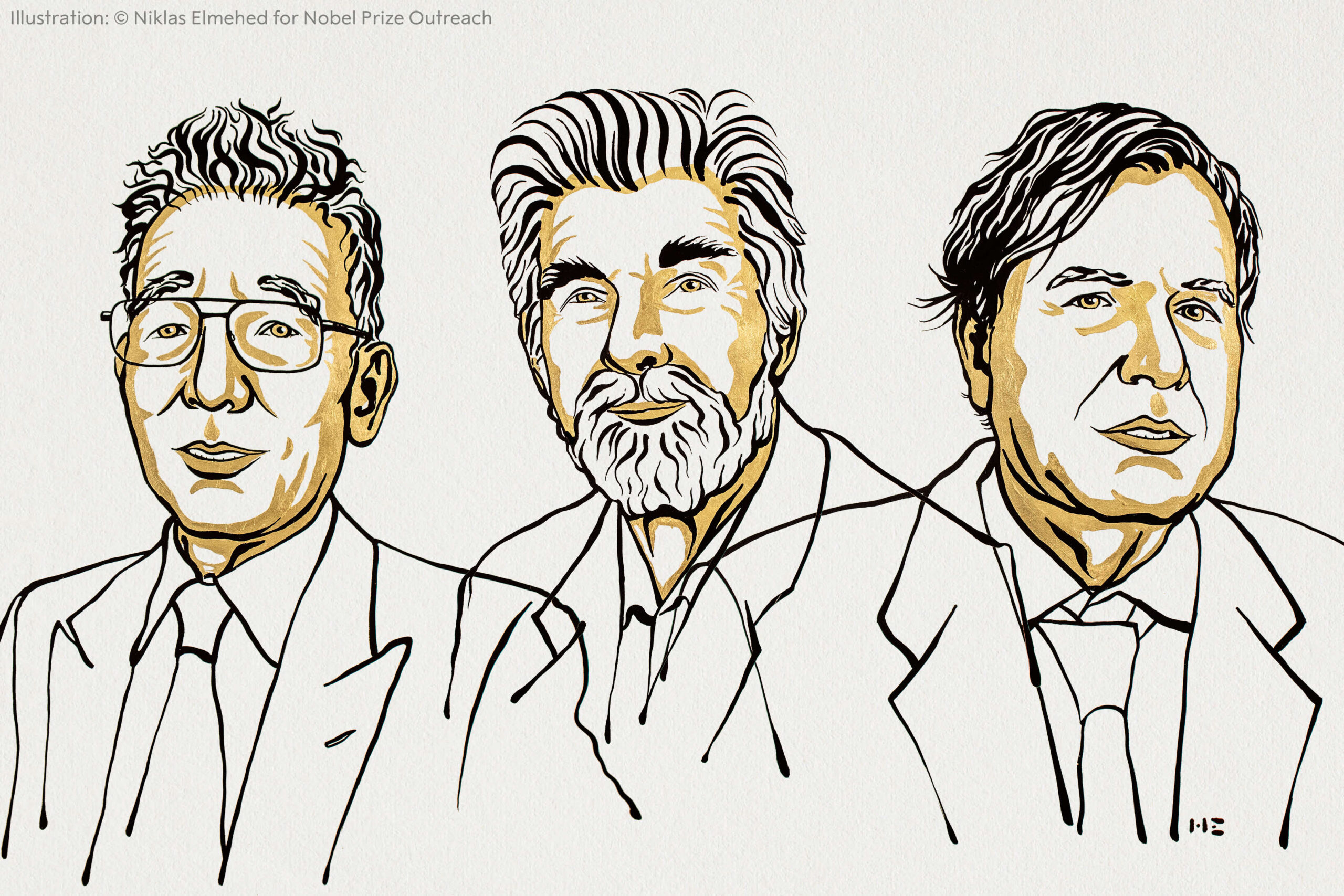 Line drawing of the three winners of the 2021 Nobel Prize in Physics