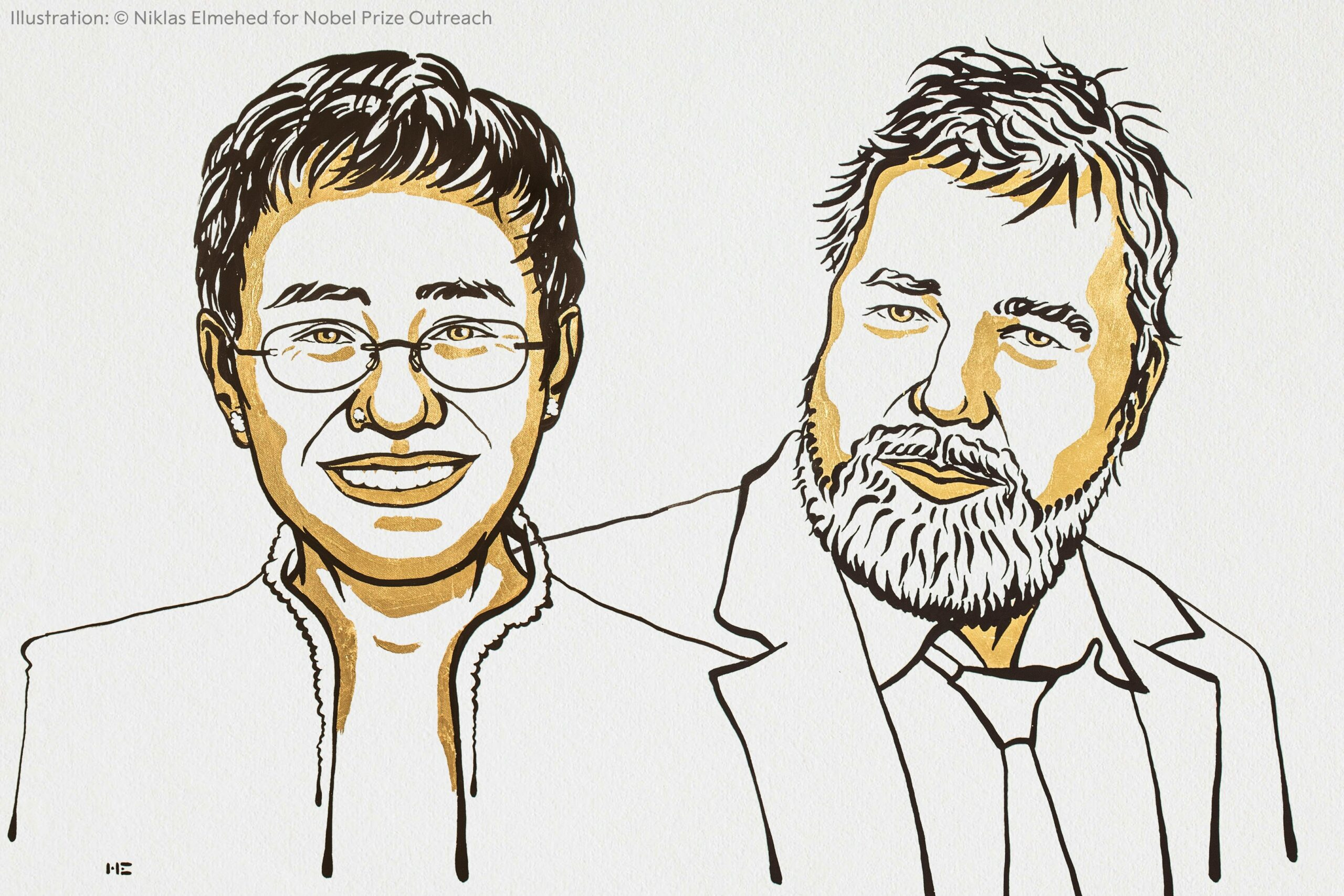 Line drawing of Maria Ressa and Dmitry Muratov